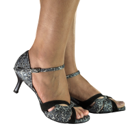 Vibranto women shoes clover pattern on black-silver with glitter lame and black suede stripe