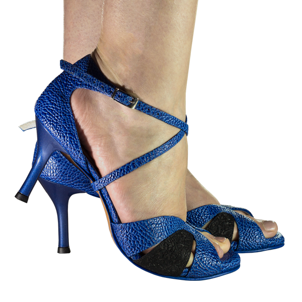 Vibranto women shoes blue cobweb and black suede leather