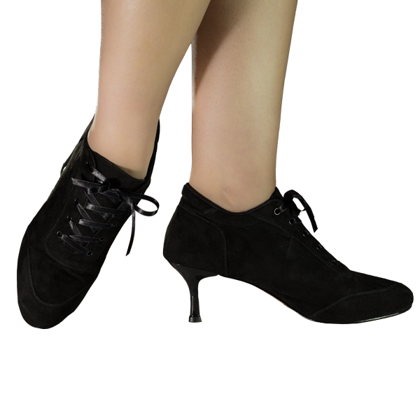 Vibranto women Shoes Ref 268 in black suede leather with black heels and shoes laces in ribbons