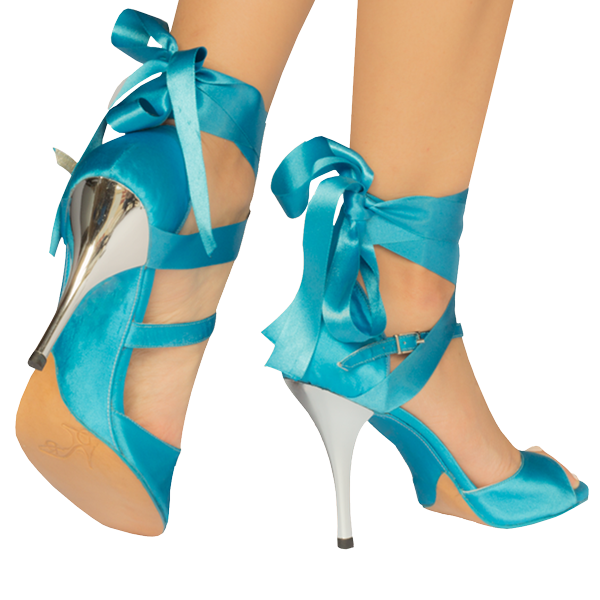 Vibranto women Shoes Ref 277 in sky blue satin and ribbons with silver high heels