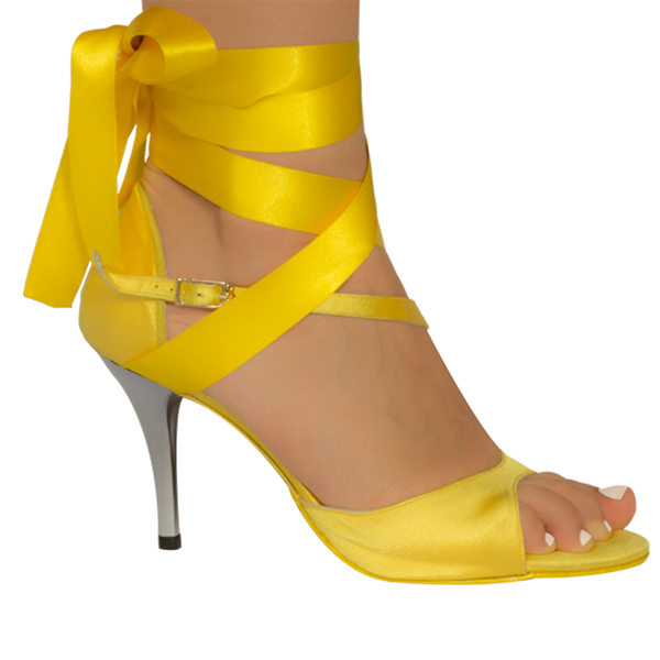 Vibranto women Shoes Ref 277 in yellow satin and ribbons with silver high heels