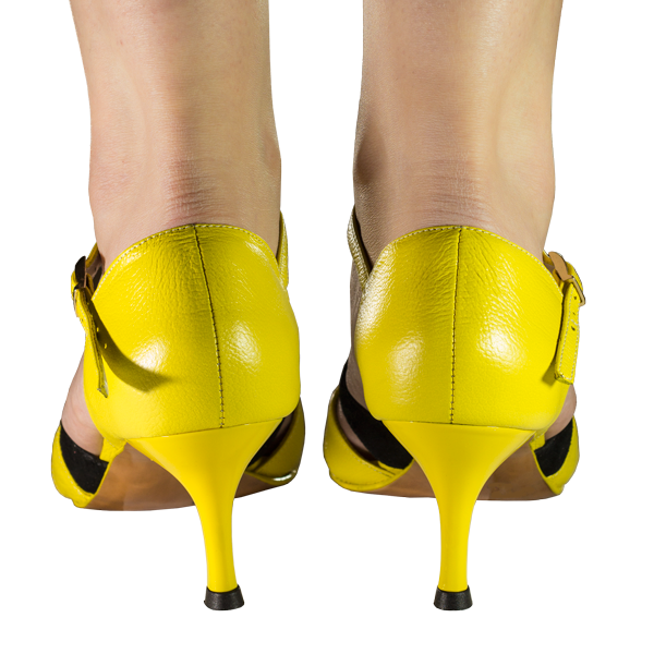 Ref T287D C1207 all in yellow leather women shoes high heels with a black stripe in suede.