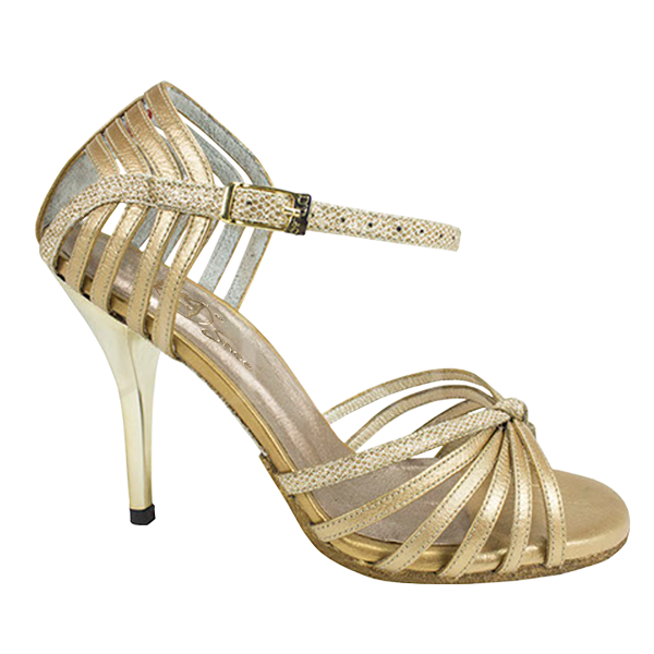 Ref 249 Gold beehive lame leather with golden leather
