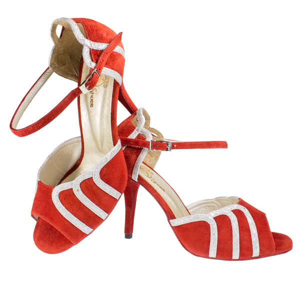 Ref 266 in red suede leather and silver glittery lame leather leather stripes with red high heels