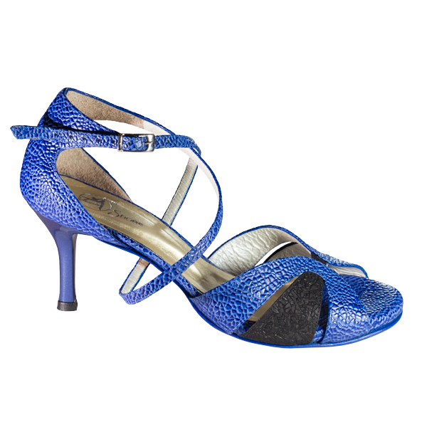 Ref T21 C293 Women Shoes blue cobweb leather and mate black topaz folia
