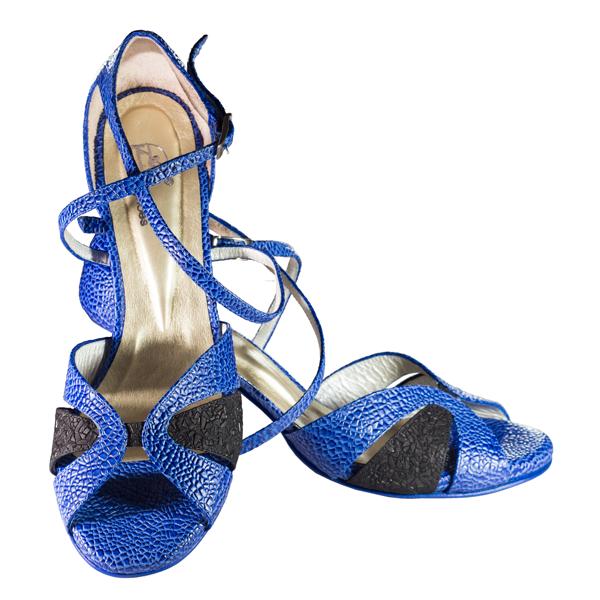 Ref T21 C293 Women Shoes blue cobweb leather and mate black topaz folia